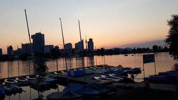 Sunset, Boat, Danube, River, City, Skyscrapers, Evening