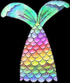 Mermaid, Scales, Fins, Fish, Rainbow, Watercolour, Carp