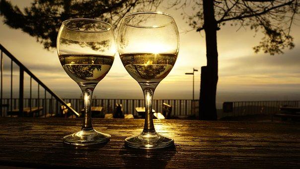 Wine Glasses, Drinks, Sunrise, Reflection, Morning