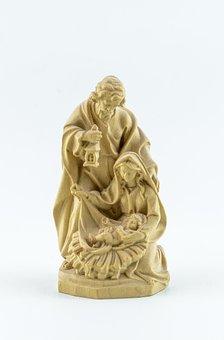 Wood Art, Carving, Nativity, Holy Family, Family