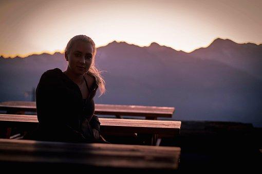 Woman, Bench, Sunset, Mountains, Blonde, Autumn, Wind