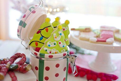 Christmas Cookies, Jar, Cookie Jar, Christmas Trees