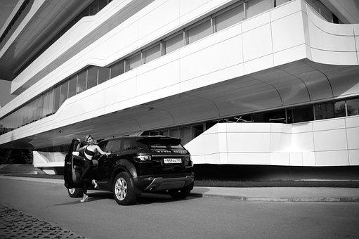 Girl, Model, Car, Land Rover, Office Building
