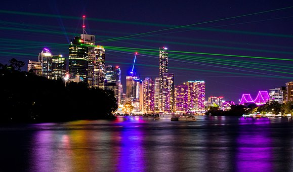 Brisbane City, Lightshow, Lasers, Night, Brisbane