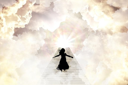 Heaven, Stairs, Girl, Silhouette, Light, Clouds, Dancer