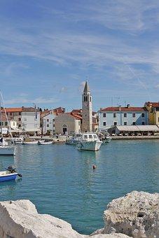 Croatia, Port, Boats, Istria, Funtana, Church
