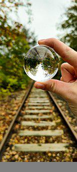 Lensball, Hand, Railroad, Rails, Railway, Tracks