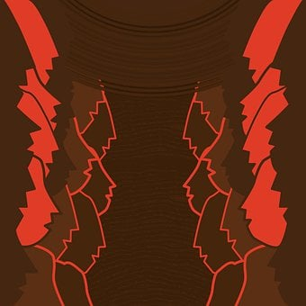 Human, Faces, Oneness, Brown, Red, Silhouettes