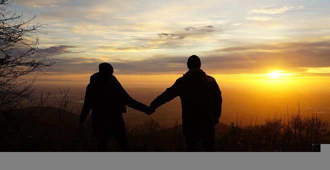 Sunrise, Couple, Silhouettes, Mountaineers