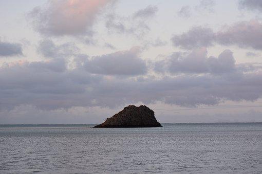 Islet, Sea, Ocean, Clouds, Sky, Horizon, Seascape