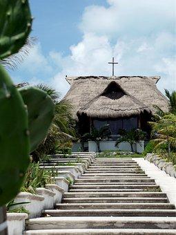 Church, Sky, Cross, Steps, Stairs, Stairway