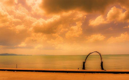Jomtien, Thailand, Asia, Sea, Water, Sky, Clouds