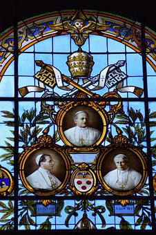 Stained Glass, Window, Lisieux, Chapel, Popes, Three