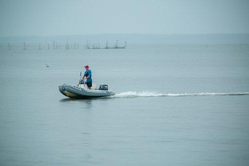 Zodiac Boat, Man, Boat, Water, Vessel, Alone