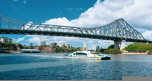 Bridge, River, Boat, Coast, Brisbane City Qld