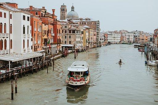 Venice, Italy, Canal, Boats, Cruising