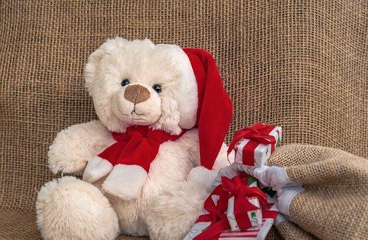 Teddy Bear, Santa Hat, Christmas Presents, Presents