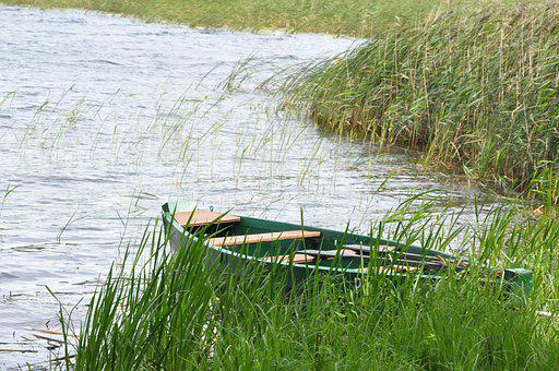 Boat, Grasses, Lake, Reed, Plants, Water
