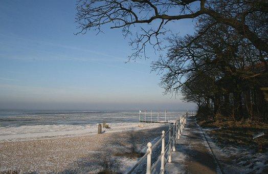 Walkway, Beach, Snow, Coast, Shore, Seashore, Sea