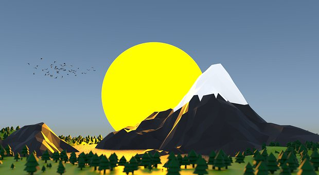 Low Poly Mountains, Sun, Mountains, Sunset, Design