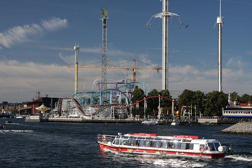 Gröna Lund, Amusement Park, Boat, Sweden, Stockholm