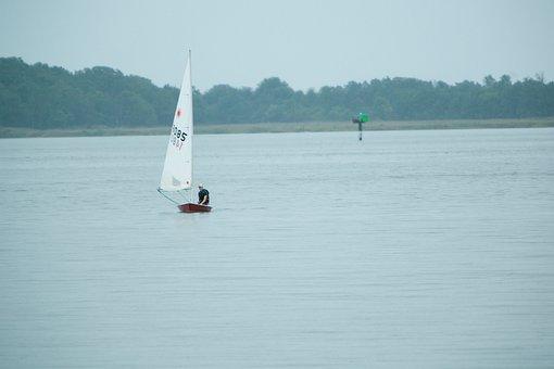 Sailboat, Man, Sailing, Water, Sail, Vessel, Alone