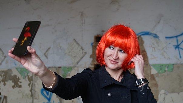 Woman, Mobile Phone, Selfie, Wig, Girl, Female
