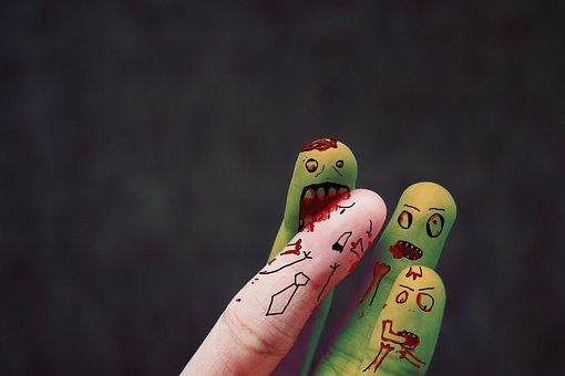 Fingers, Characters, Zombies, Human, Blood, Halloween