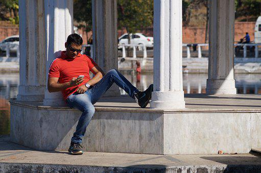 Man, Model, Sitting, Phone, Columns, Architecture