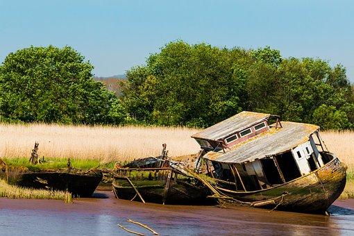 England, Devon, Boats, Shipwreck, Wreck, Abandoned