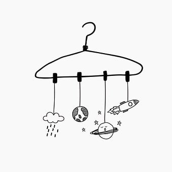 Clothes Hanger, Planets, Doodle, Earth, Saturn, Cloud