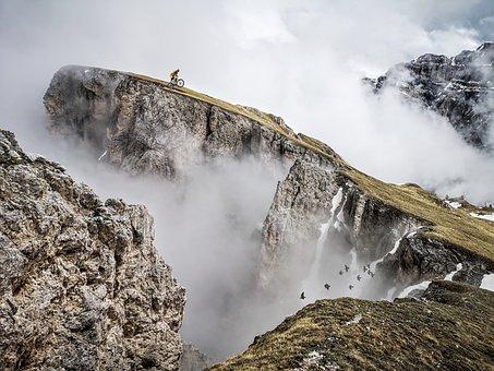 Mountains, Fog, Mountain Biking, Cliffs, Biking, Mtb