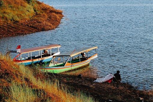 Indonesian, Boat, Fishermen, Indonesian Flag, Water