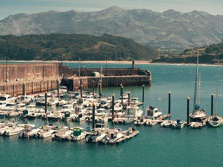 Port, Boats, Sea, Mountains, Ballasts, Asturias, Spain