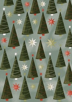 Christmas Trees, Pattern, Wallpaper, Pine Trees
