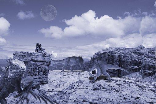 Dinosaurs, Mountain, Prehistoric, Carnivores, Rocks