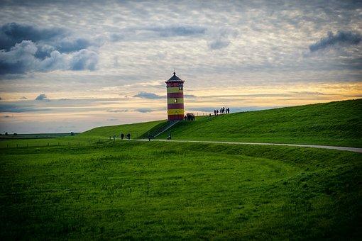 Lighthouse, Coast, Sea, Beach, Port, East Frisia