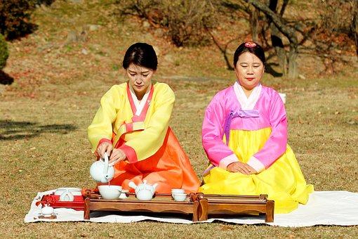 Women, Korean, Hanbok, Tea Time, Tea Ceremony
