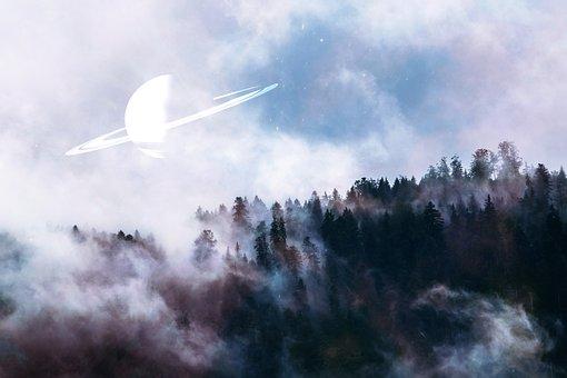 Trees, Fog, Forest, Planet, Saturn, Nature, Landscape