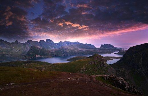 Mountains, Sunset, Clouds, Estuary, Dusk, Twilight