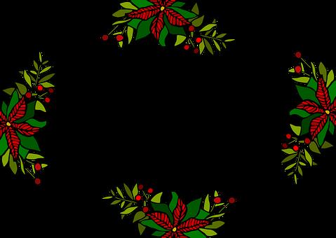 Poinsettia, Holly, Border, Christmas, Mistletoe