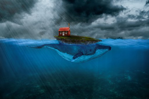 Whale, House, Island, Photo Manipulation, Cloudy