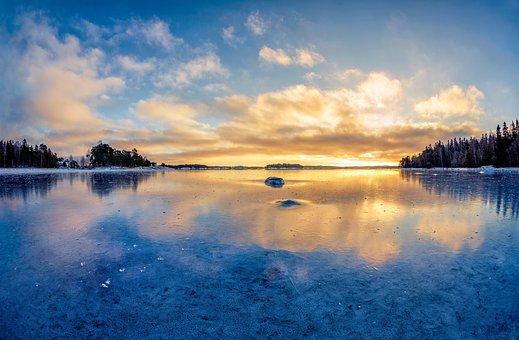 Sandemar Nature Reserve, Sea Ice, Mirroring, Sunset