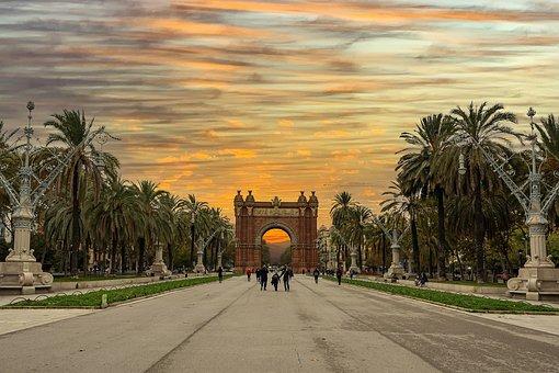 Park, Palms, Trees, Sunset, Landscape, Autumn