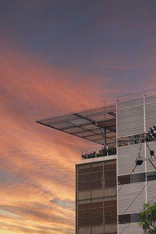 Building, Balcony, Roof, Sunset, Sky, Architecture