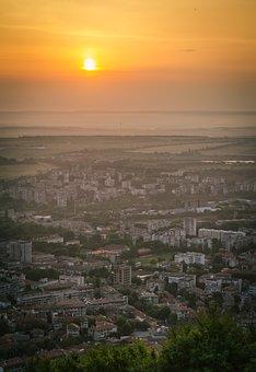 Town, City, Shumen, Urban, Bulgarian, Sunrise, Clouds