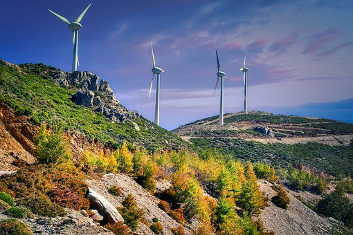 Windmills, Mountains, Wind Farm, Wind Turbines