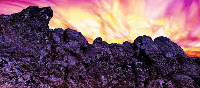 Mountain, Rocks, Clouds, Colorful, Sky, Alien