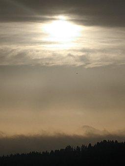 Forest, Fog, Mountain, Sunset, Sunrise, Sun, Clouds