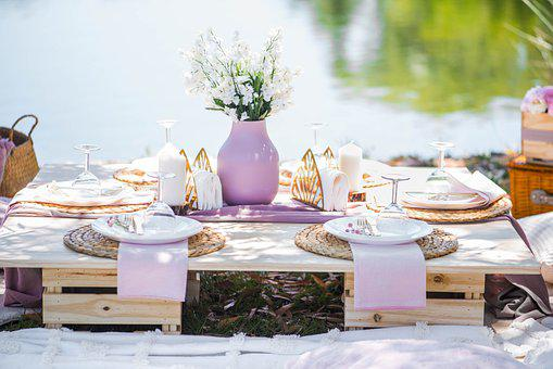 Picnic, Plates, Cutlery, Wine Glass, Fruit Basket